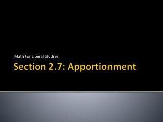 Section 2.7: Apportionment