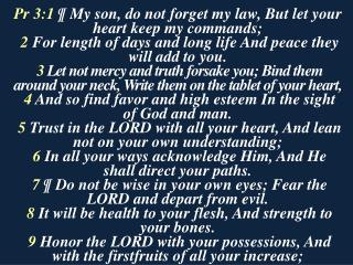 Pr 3:1  ¶ My son, do not forget my law, But let your heart keep my commands;