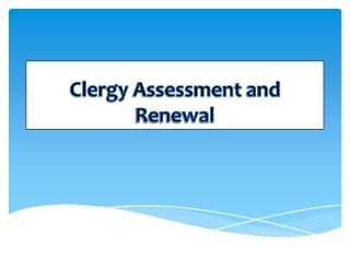 Clergy Assessment and Renewal
