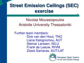 Street Emission Ceilings (SEC) exercise