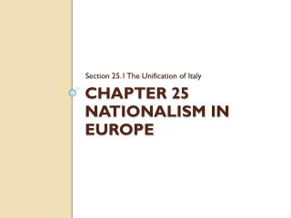 Chapter 25 Nationalism in Europe