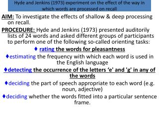 Hyde and Jenkins (1973) experiment on the effect of the way in which words are processed on recall