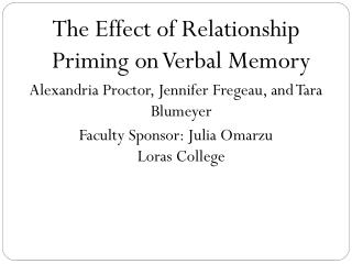 The Effect of Relationship Priming on Verbal Memory