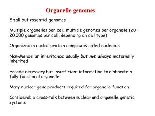 Organelle genomes