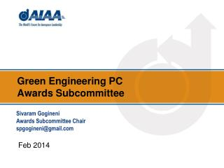 Green Engineering  PC  Awards Subcommittee