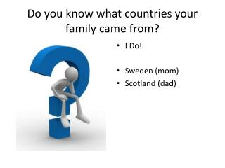 Do you know what countries your family came from?
