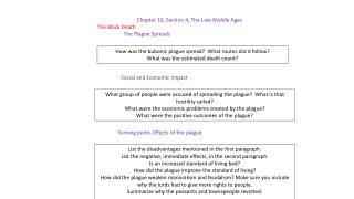 Chapter 10, Section 4, The Late Middle Ages The Black Death The Plague Spreads