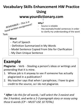 Vocabulary Skills Enhancement HW Practice Using www.yourdictionary.com