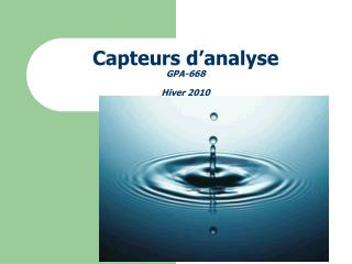 Capteurs d'analyse GPA-668 Hiver 2010