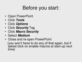 Before you start: