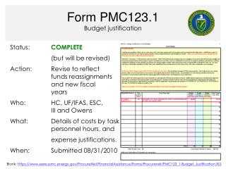 Form PMC123.1 Budget justification