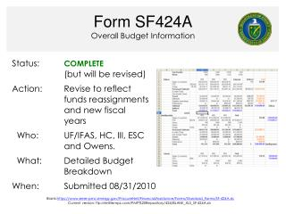 Form SF424A Overall Budget Information