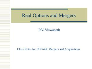 Real Options and Mergers