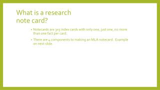 What is a research  note card?