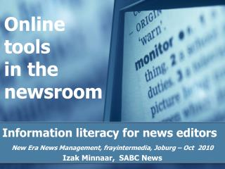 Online tools  in the newsroom