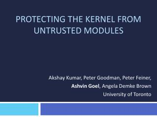 Protecting the Kernel from Untrusted Modules