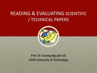 READING & EVALUATING  SCIENTIFIC / TECHNICAL PAPERS
