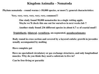 Kingdom Animalia – Nematoda