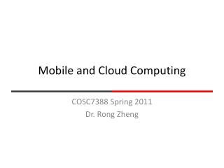 Mobile and Cloud Computing