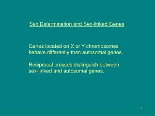 Sex Determination and Sex-linked Genes