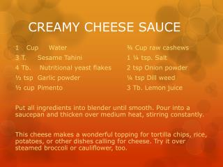 CREAMY CHEESE SAUCE