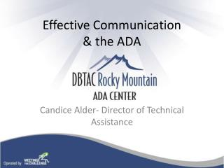 Effective Communication  & the ADA