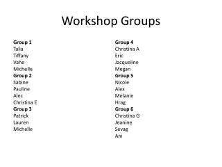 Workshop Groups