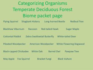 Categorizing Organisms Temperate Deciduous Forest  Biome packet page
