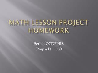 Math lesson project homework