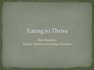 Eating to Thrive