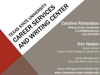Texas State University  Career  Services and Writing Center