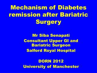 Mechanism of Diabetes remission after Bariatric Surgery