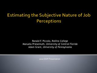 Estimating the Subjective Nature of Job Perceptions