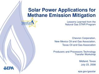 Solar Power Applications for Methane Emission Mitigation