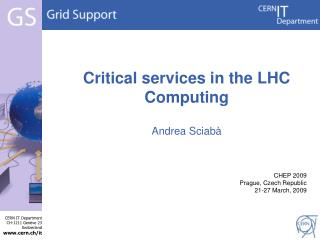 Critical services in the LHC Computing