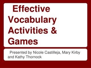 Effective Vocabulary Activities & Games