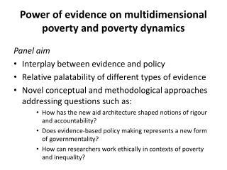 P ower of evidence on multidimensional poverty and poverty dynamics