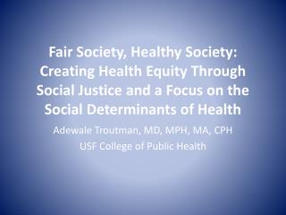 Adewale  Troutman, MD, MPH, MA, CPH USF College of Public Health