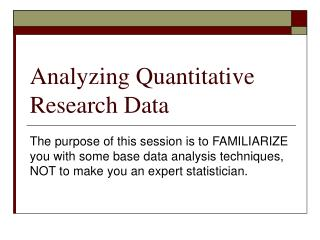 Analyzing Quantitative Research Data