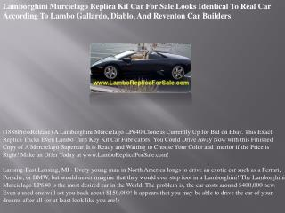 Lamborghini Murcielago Replica Kit Car For Sale Looks Identi