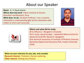 About our Speaker