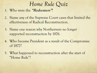 Home Rule  Quiz