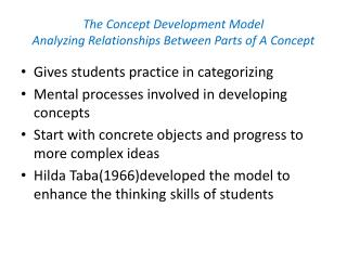 The Concept Development Model Analyzing Relationships Between Parts of A Concept