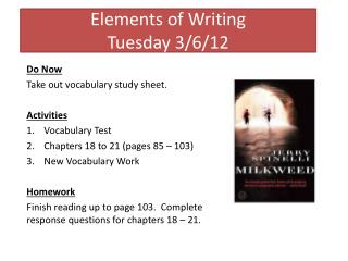 Elements of Writing Tuesday 3/6/12
