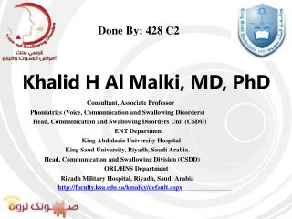 Khalid H Al Malki, MD, PhD