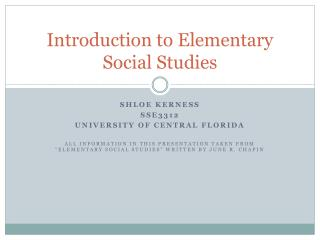 Introduction to Elementary Social Studies