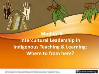 Module 6  Intercultural Leadership in Indigenous Teaching  &  Learning: Where to from here?
