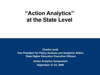 Charlie Lenth Vice President for Policy Analysis and Academic Affairs