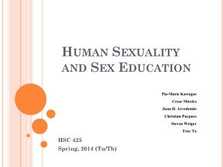 Human Sexuality and Sex Education