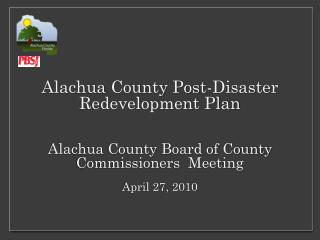 Alachua  County Post-Disaster Redevelopment Plan